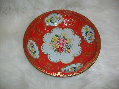Vintage~1971~Daher Decorated Ware~Made In England~Tin/Metalware Red Floral Dish