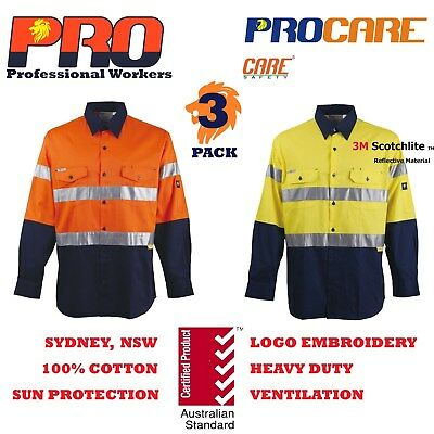 3 x Hi Vis Work Shirt with vent cotton drill 3M CR reflective Tape long sleeve