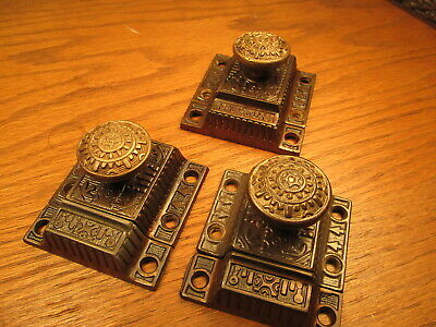 """3 """" Windsor """" Cupboard Latches...brass Knobs...ornate Detail...nice"""