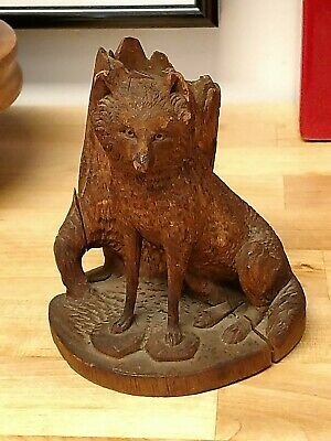 Antique 19th Century Swiss Black Forest Wood Carving RARE FOX Match Holder