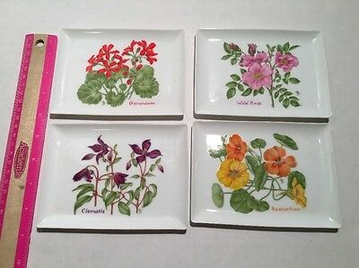 Lillian Vernon Floral Trays Spring Ceramic Trinket Dish Jewelry Change Vintage