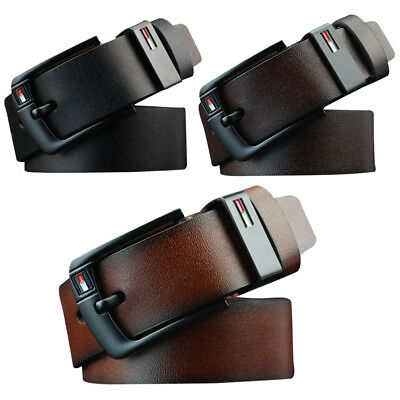 Mens PU Leather Waistband Business Belt Work Dress Pin Buckle Belts 3 Colors AU