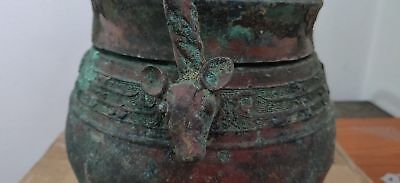 antique?age? large heavy Chinese bronze storage container animal head handle