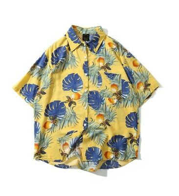 Men's Summer Personality Trend Short Sleeve Shirt Print Loose Casual Top