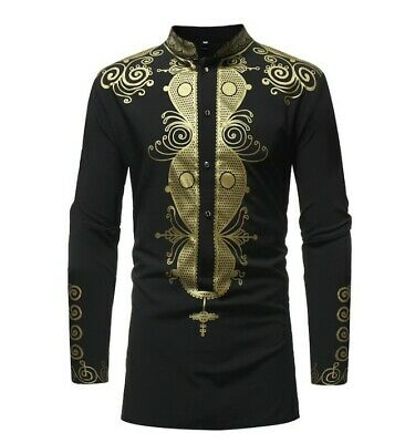 Men's Personality African Ethnic Style Printed Long-sleeved Collar Shirt Casual