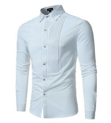 Men Personality Solid Color Shirt Front Pleated Pleated Long Sleeve Casual Shirt