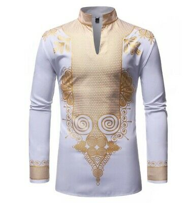 Men's African Ethnic Hot Stamping Collar Long Sleeve Shirt Casual Personality