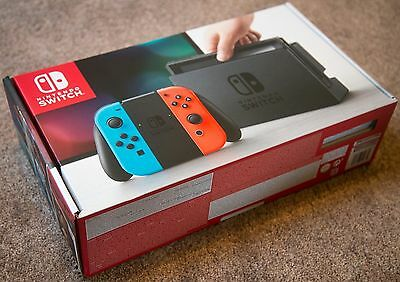 'Unpatched' New Nintendo Switch - 32GB Gray Console Neon Red/Neon Blue Joy-Con