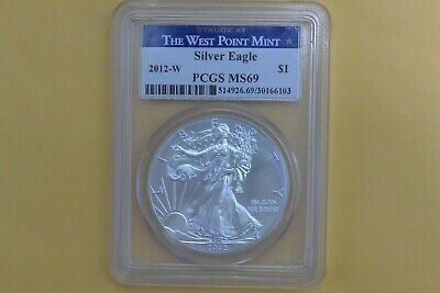 2012-W (Burnished) American Silver Eagle Struck at West Point Mint PCGS MS69