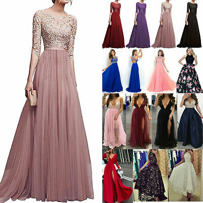 Women Lady Formal Lace Wedding Bridesmaid Evening Party Prom Long Cocktail Dress