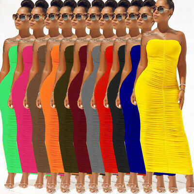 Women's Sleeveless Sexy Ruched Strapless Club Night Bodycon Tube Top Maxi Dress