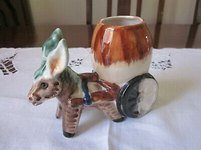 Vintage Kitsch Ceramic Donkey And Cart With Barrel