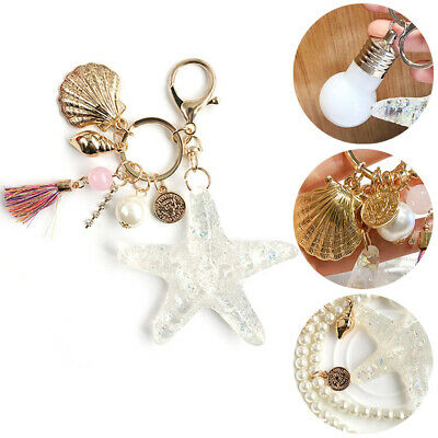 Cute Starfish Shell Key Chain Crystal Pendant Keyring Keychain Keyfob Gift Hot