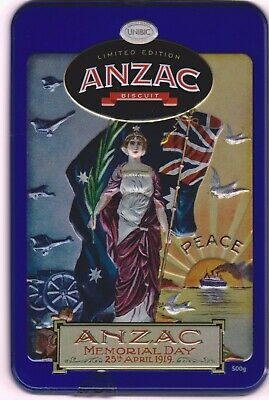 2019 ANZAC Memorial Tin 500g ANZAC biscuits - INCLUDES Two Postcards & BISCUITS