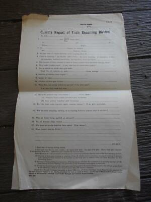 Vintage Victorian Railways document form Guard's report train becoming divided