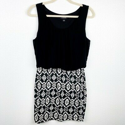 A. Byer Black Scoop Neck Mini Dress Pencil Skirt Sleeveless Pleated Front Top L