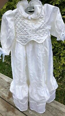 Vintage Hene Renee Christening Gown Dress 6-12 Months With Bonnet *