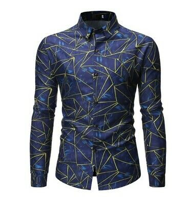 Men's Personality Abstract Geometric Print Casual Large Size Long Sleeve Shirt