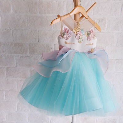 Kids Girls Unicorn Party Cosplay Costume Fancy Dress Up Tulle Tutu Dresses 4-5Y