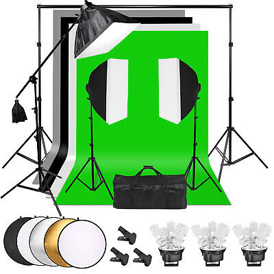 3375W Softbox Photo Video Studio Lighting 4x Backdrop Background Stand Kit