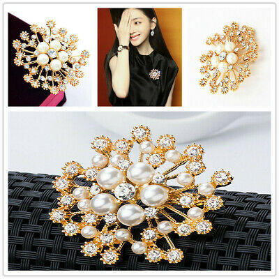 Vintage Gold Flower BROOCH Pin Crystal Rhinestone Bridal Pearl Broach Weddings