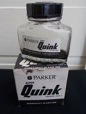 Vintage 1970s PARKER SUPER QUINK SOLV-X Empty Ink Bottle 2fl oz Box ❤️ CHEAP