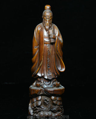 """8"""" Rare Old Chinese Dynasty Boxwood Wood Hand Carved Stand Lao-tzu Lao Zi Statue"""