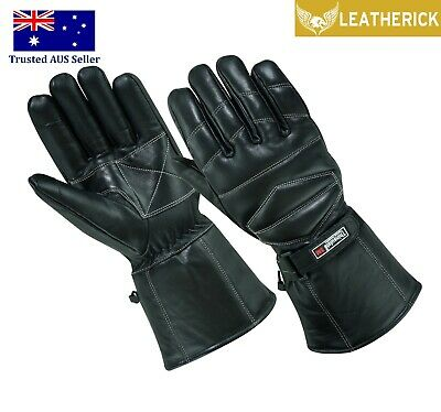 Mens Real Sheep Leather Thinsulate lined Motorbike Gloves for Winter Black AUS