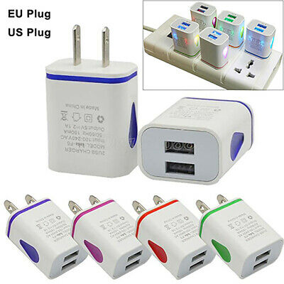 AD_ HOT Dual USB Ports LED Light 5V 2.1A US/EU Plug Wall Home Charger Adapter Li