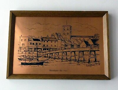 Vintage 70s Original Etchmaster Etched Copper Picture Shoreham-By-Sea by Langfor