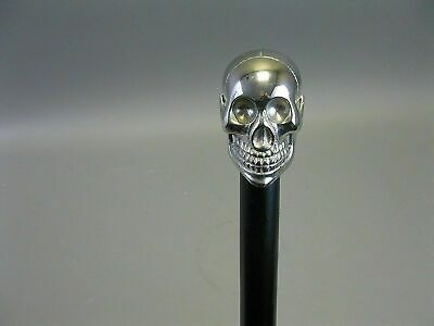 Silver Brass Chrome Dog Handle Walking Cane Black Wooden Stick Antique Style New