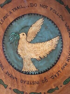 Wooden Charger a Stunning Old Circular Example With Dove Decoration and Verse