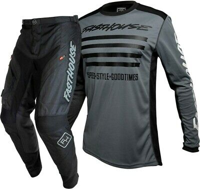 Fasthouse Grindhouse Offroad Enduro Gear Black Slash Grey Adult