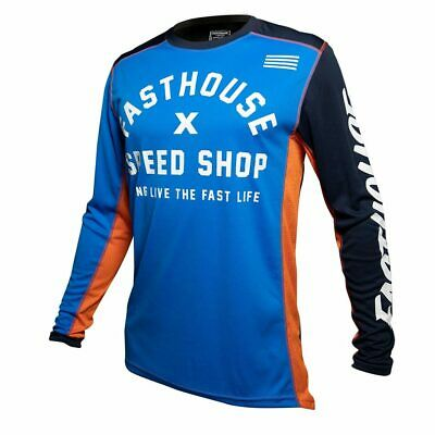 Fasthouse Heritage Motocross MX Race Jersey Blue Adult