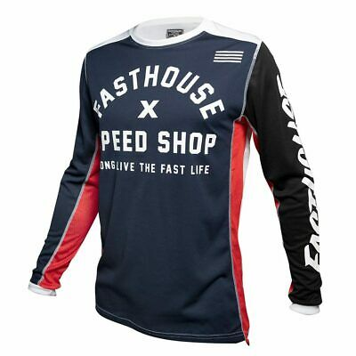 Fasthouse Heritage Motocross Enduro MX Offroad Race Jersey Navy Adults