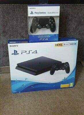 Sony PlayStation 4 Slim 500GB Jet Black Console with Extra Controller