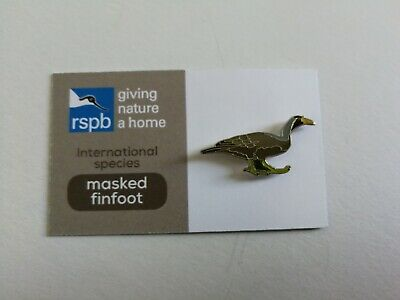 Masked Finfoot pin badge on RSPB International GNaH card. Very good condition.