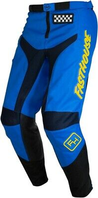 Fasthouse Grindhouse Motocross MX Race Pants Blue Yellow Adult