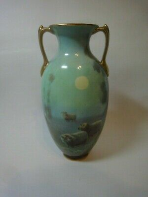 Royal Doulton  Vase Hand painted Sheep in Moonlight, Signed J.HANCOCK,c 1900