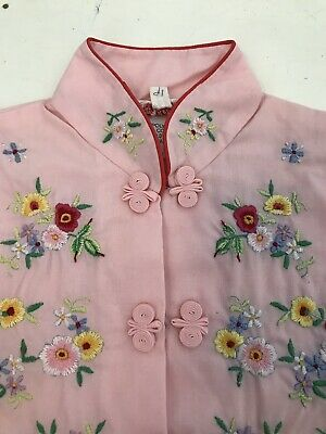 Girl Vintage Handmade Embroidered Chinese Oriental Asian Long Pyjama Size 1-2 Y