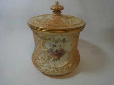 Antique Royal Worcester Hand Painted Blush Ivory Basket Work Vase With Lid,1894