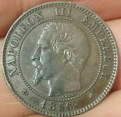 1856 K Deux 2 Centimes Napoleon lll Empereur France Coin aVF Condition ac547