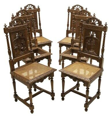 Antique French Breton Spindled Oak Caned Dining Chairs