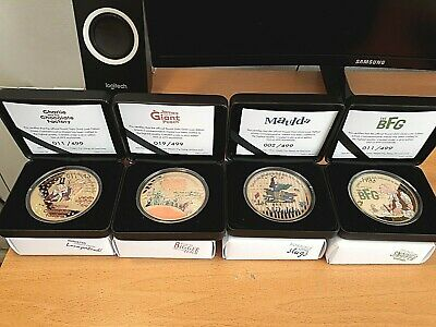4 x Limited Edition Roald Dahl Luxe Gold Edition Commemorative Medals/Coins