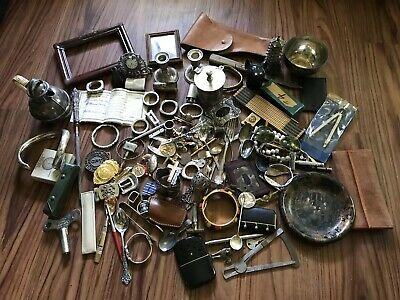 Vintage Antique Junk Drawer Lot Estate Sale Sterling Silver, Metal, and More