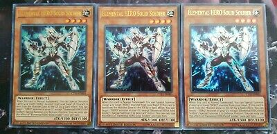 3x Elemental HERO Solid Soldier CT15-EN003 Ultra Rare NM/M Limited Ed Yu-Gi-Oh!