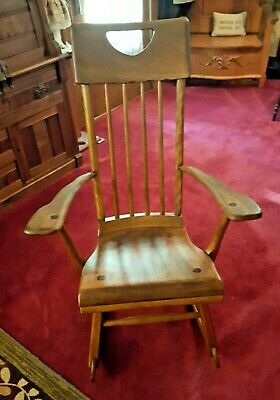 1940's ARTS AND CRAFTS MAPLE ROCKER BY SIKES CHAIR CO.BUFFALO,NEW YORK GREAT...