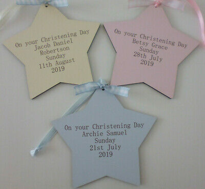 Personalised Wooden Christening Star Engraved Blue Pink or Ivory
