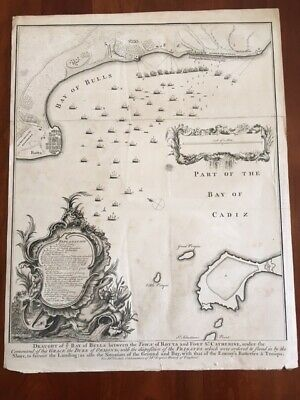RARE 1745 Folded MAP Bay of Bulls, Rotta, Fort St Catherine, Cadiz, SPAIN Europe