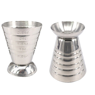 2pcs Durable Nontoxic Useful Stainless Steel Jigger Cup for Home Kitchen Bar